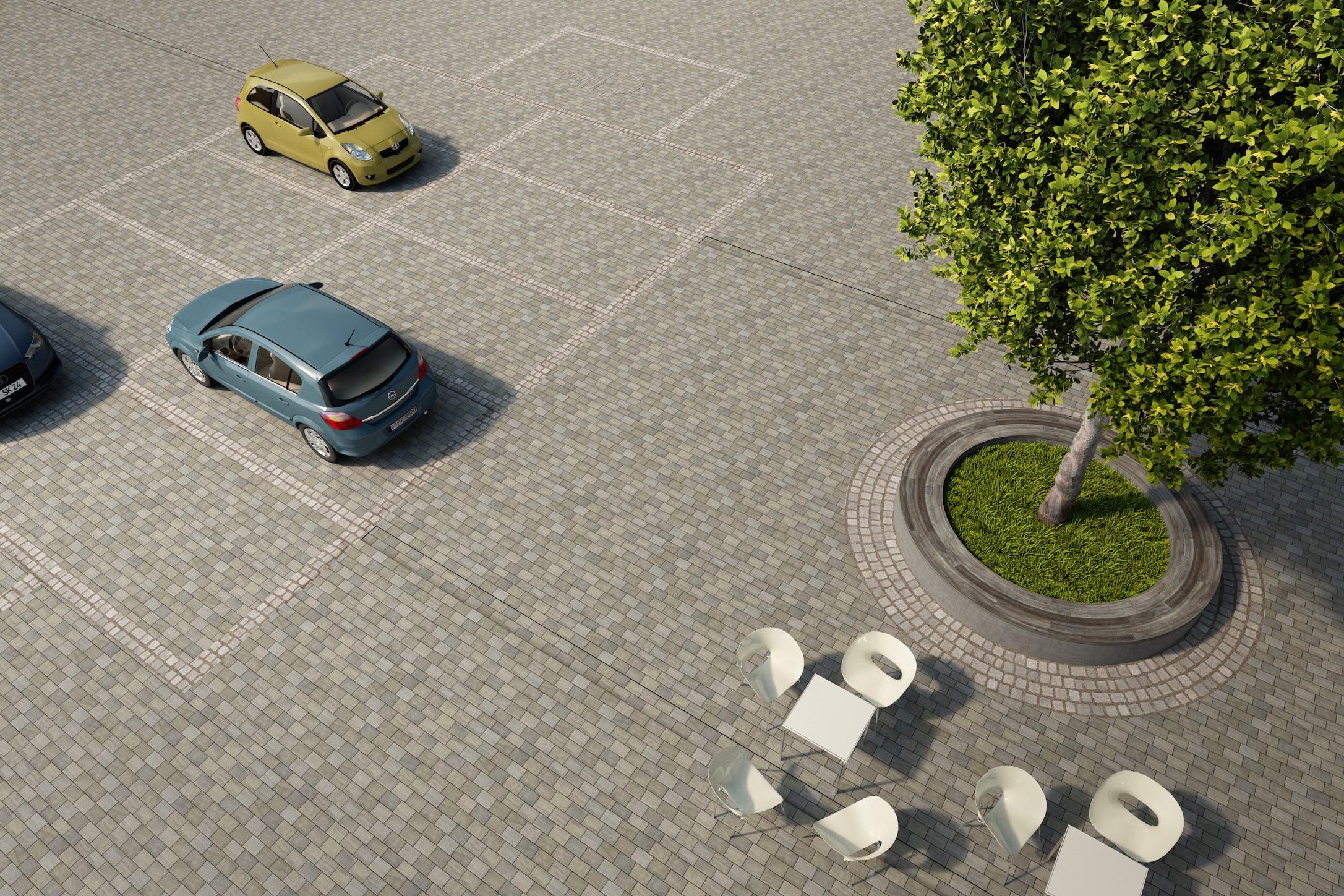 Ein Beispiel für die neuen Einfassungen der neu gepflanzten Bäume auf dem Marktplatz mit integrierter Sitzmöglichkeit