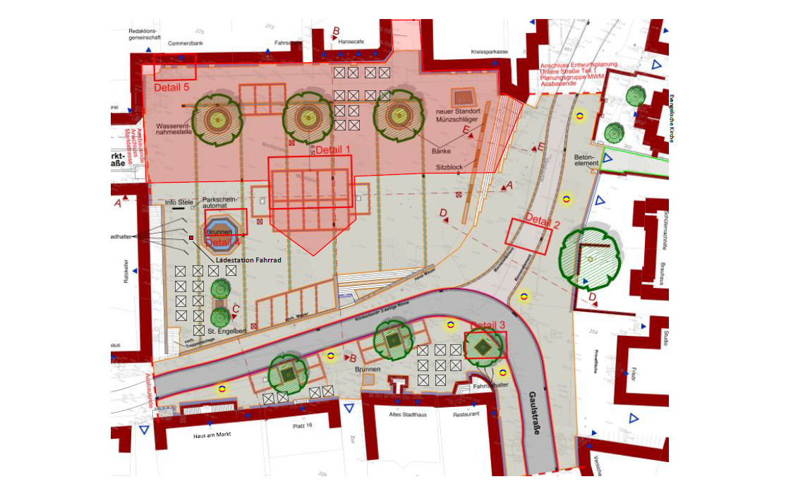 Marktplatz: Bauabschnitt Hanse Café Richtung Altes Stadthaus; Baubeginn 1. Teil (rot): Juni/Juli 2018; 2. Teil: Februar/März 2019