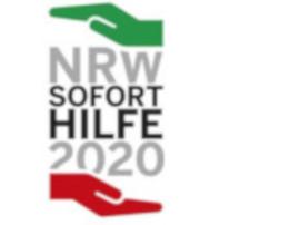 NRW-Soforthilfe 2020 in den Landesfarben grün, weiß und rot