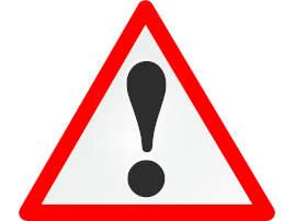 Das Bild zeigt ein Achtungschild. Weißes Dreieck mit dickem roten Rand. In der Mitte ist ein großes schwarzes Ausrufezeichen.