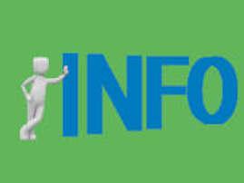 Bild mit grünem Hintergrund und blauem Schriftzug: Info