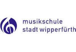 """Das Bild zeigt das Logo der Musikschule Wipperfürth. Einen Notenschlüssel in lila/weiß und den Schriftzug """"Musikschule Stadt Wipperfürth"""" in zwei Zeilen."""