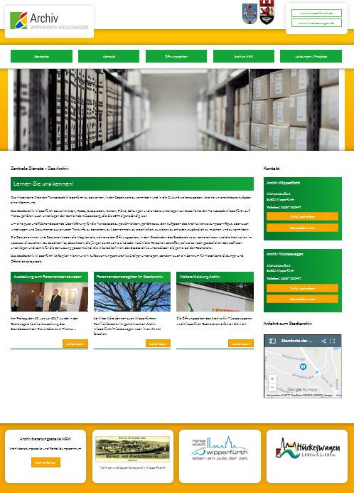 Screenshot der Startseite des Archivs