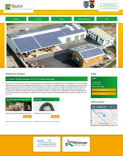 Screenshot der Startseite des Bauhofs