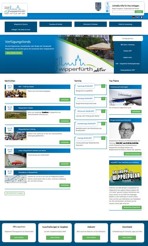 Screenshot der Startseite www.wipperfuerth.de