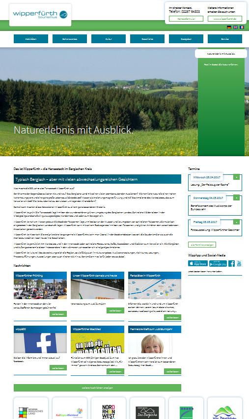 Screenshot des Internetauftritts Tourismus
