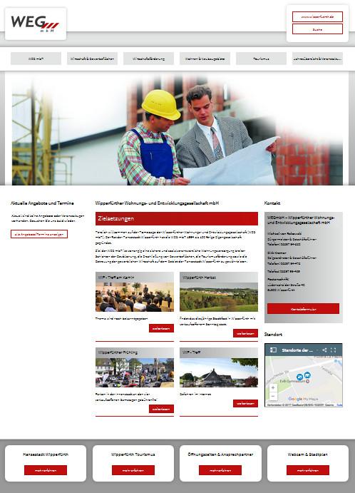 Screenshot der Startseite der WEG