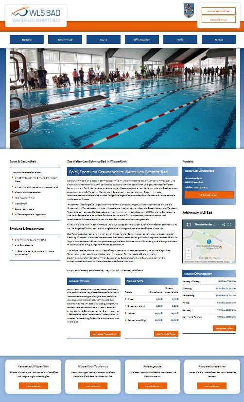 Screenshot der Startseite des Schwimmbads